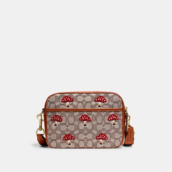 Flight Bag In Signature Textile Jacquard With Mushroom Motif Embroidery