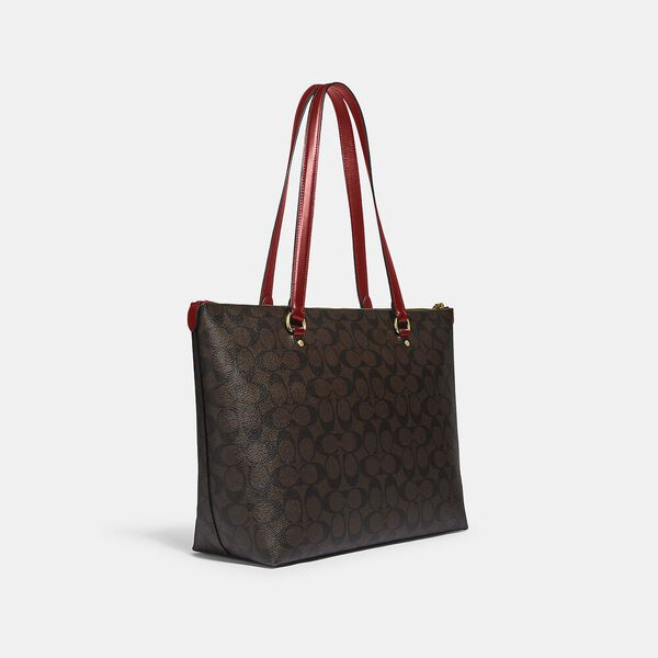 Gallery Tote In Signature Canvas, IM/BROWN 1941 RED, hi-res