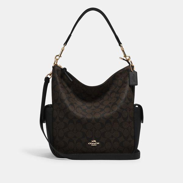 Pennie Shoulder Bag In Signature Canvas, IM/BROWN BLACK, hi-res