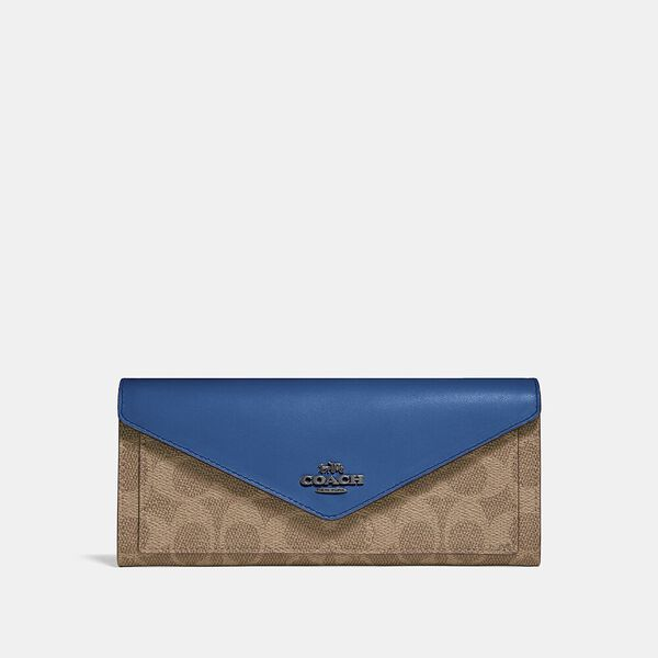 Soft Wallet In Colorblock Signature Canvas, V5/TAN DARK DENIM, hi-res