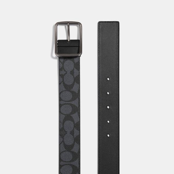 Cut-To-Size Reversible Belt In Signature Canvas, CHARCOAL, hi-res