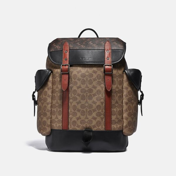 Hitch Backpack In Signature Canvas With Horse And Carriage Print, JI/TRUFFLE MULTI, hi-res