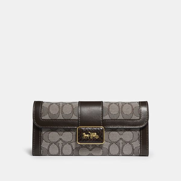 Allie Wallet In Signature Jacquard With Snakeskin Detail, B4/OAK MAPLE, hi-res
