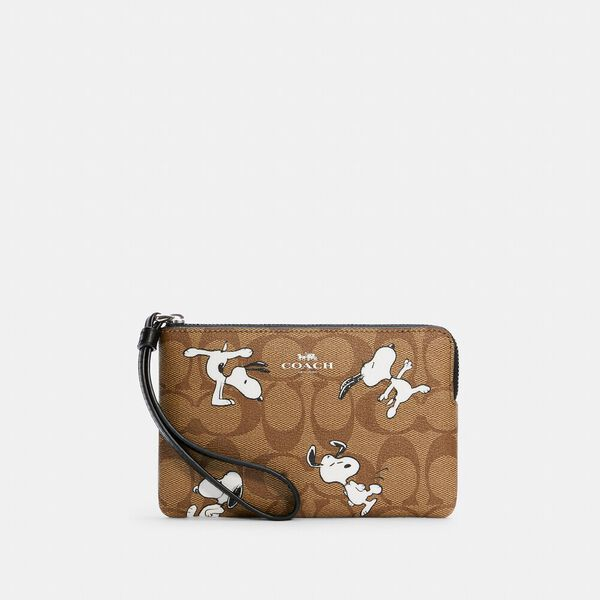 Coach X Peanuts Corner Zip Wristlet In Signature Canvas With Snoopy Print