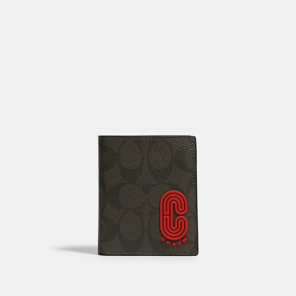 North/South Slim Bill Wallet In Signature Canvas With Coach Patch, QB/OLIVE, hi-res