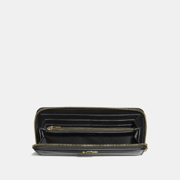 Slim Accordion Zip Wallet, GD/BLACK, hi-res