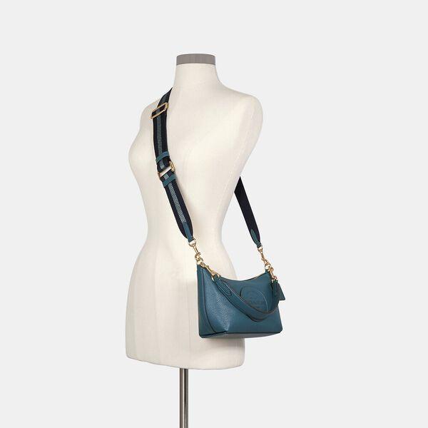 Dempsey Shoulder Bag With Patch, IM/TEAL INK, hi-res