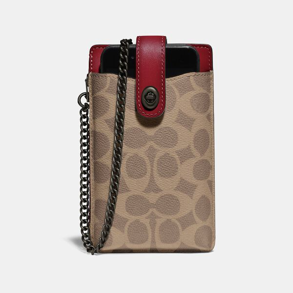 Turnlock Chain Phone Crossbody In Blocked Signature Canvas, V5/TAN RED APPLE, hi-res