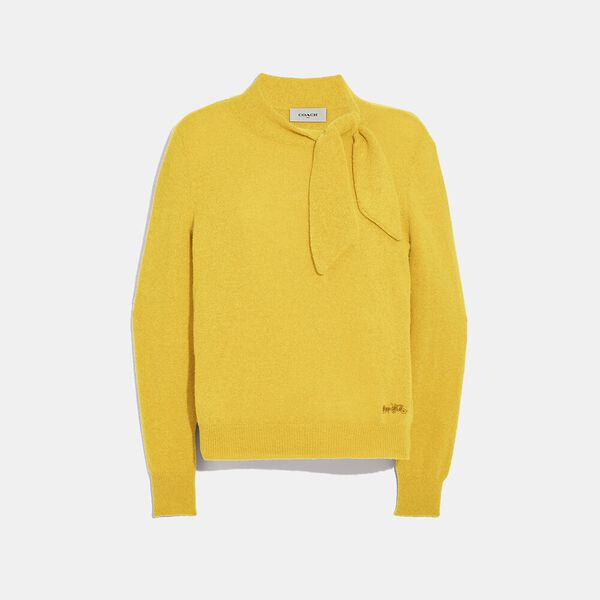 Horse And Carriage Tie Neck Sweater, YELLOW, hi-res