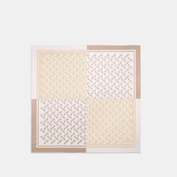 Diagonal Horse And Carriage Checker Print Silk Square Scarf, Chalk, hi-res