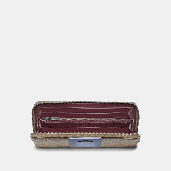 Slim Accordion Zip Wallet In Colorblock Signature Canvas, V5/Tan Bluebell, hi-res