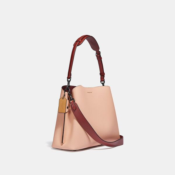 Willow Shoulder Bag In Colorblock With Signature Canvas Interior, V5/FADED BLUSH, hi-res
