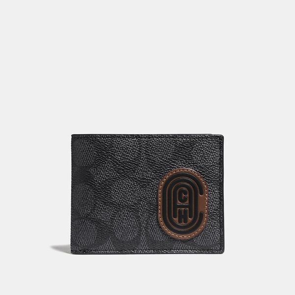 Slim Billfold Wallet In Signature Canvas With Coach Patch, CHARCOAL/DEEP SKY, hi-res