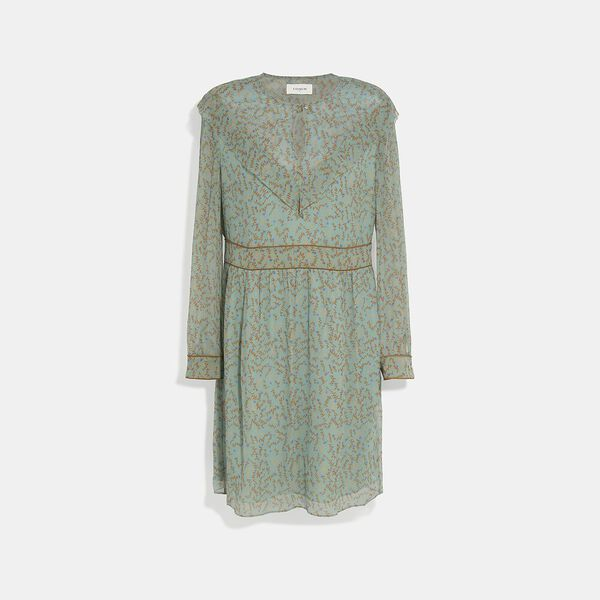 Printed Short Chiffon Dress, TURQUOISE/BROWN, hi-res
