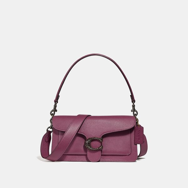 Polished Pebble Leather With Gem C Closure Tabby Shoulder Bag 26