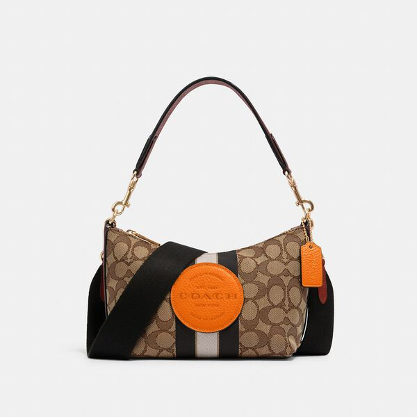 Dempsey Shoulder Bag In Signature Jacquard With Stripe And Patch