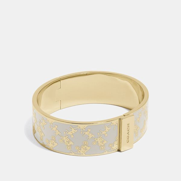 Horse And Carriage Bangle, GOLD/CHALK, hi-res
