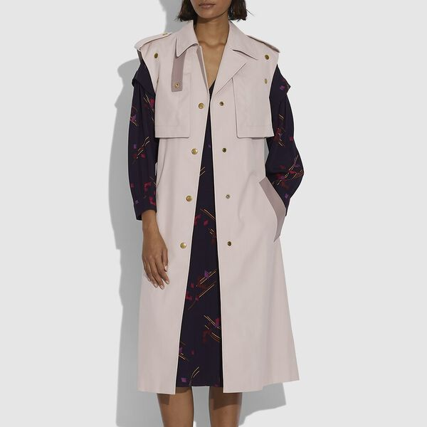 Cotton Trench With Leather Details, DOE PINK, hi-res